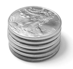Stack of Silver Eagle Coins